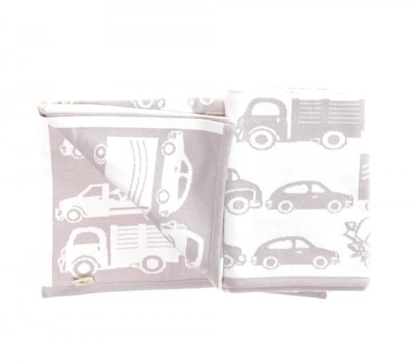Bio Kinderdecke mit Autos und Namen 90x120cm