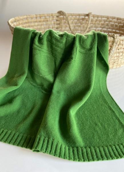 Merino Decke Bär grün 100x100cm