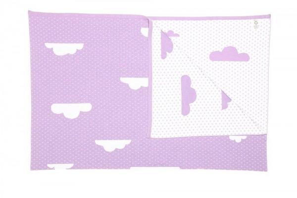 Bio Babydecke mit Wolken und Namen 90x120cm