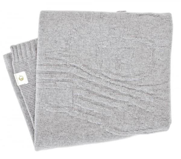 Merino Decke Bär grau 100x100cm