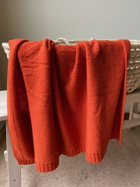 Merino Decke Bär orange 100x100cm