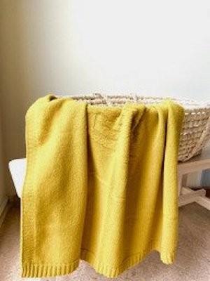 Merino Kinderdecke Bär gelb 100x100cm